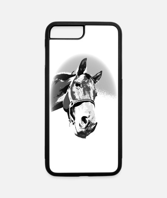 Cute iPhone Cases - Horse, horse head, ride, foal, mane, saddle - iPhone 7 & 8 Plus Case white/black