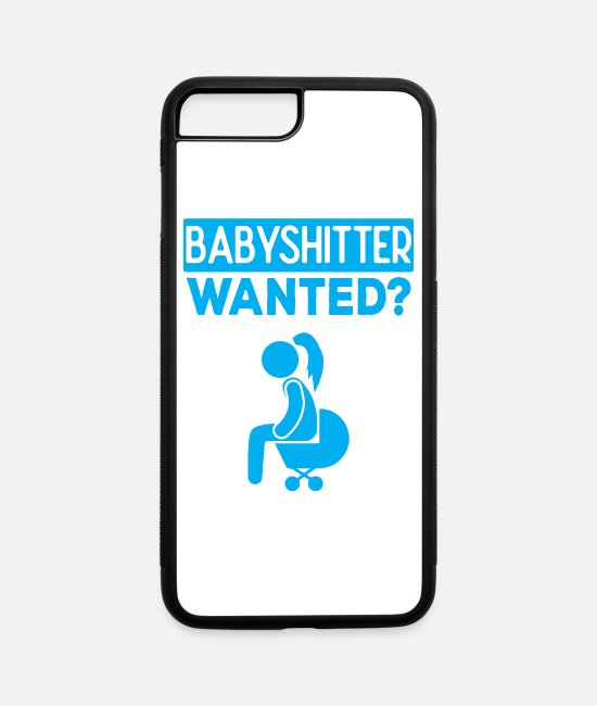 Stroller iPhone Cases - Babyshitter Wanted ? - Bad Taste Humour - iPhone 7 & 8 Plus Case white/black