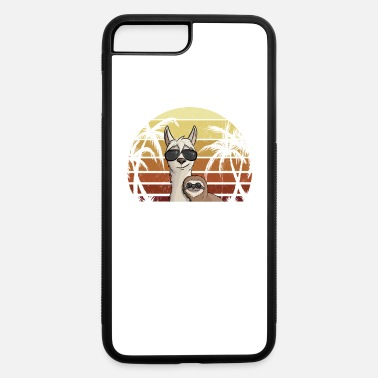 Palm Trees Grab 80s Retro Style Casual Hipster Sloth Riding Llama - iPhone 7 & 8 Plus Case