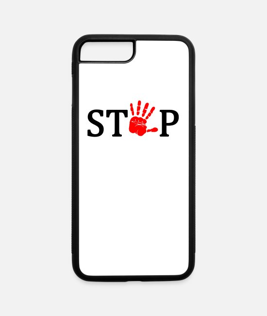 Red iPhone Cases - Stop - iPhone 7 & 8 Plus Case white/black