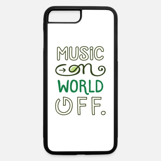 Guitar Player iPhone Cases - Music on world off design for music fans - iPhone 7 & 8 Plus Case white/black