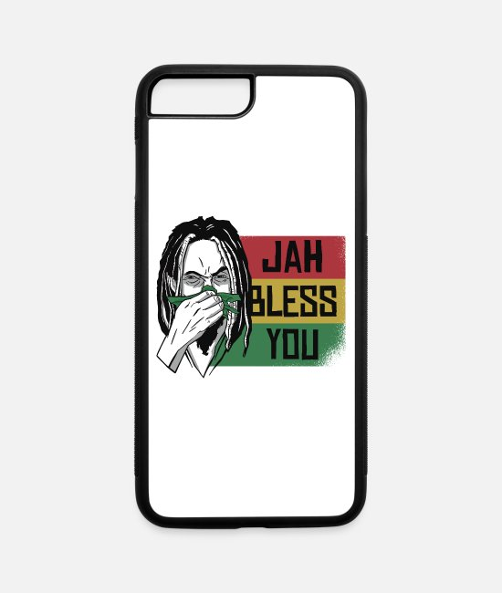 Rasta iPhone Cases - Funny Jah bless you wintertime rasta jamaica shirt - iPhone 7 & 8 Plus Case white/black