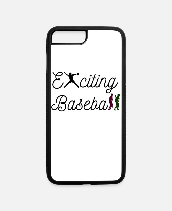 Catcher iPhone Cases - Exciting Baseball with baseball player letters - iPhone 7 & 8 Plus Case white/black