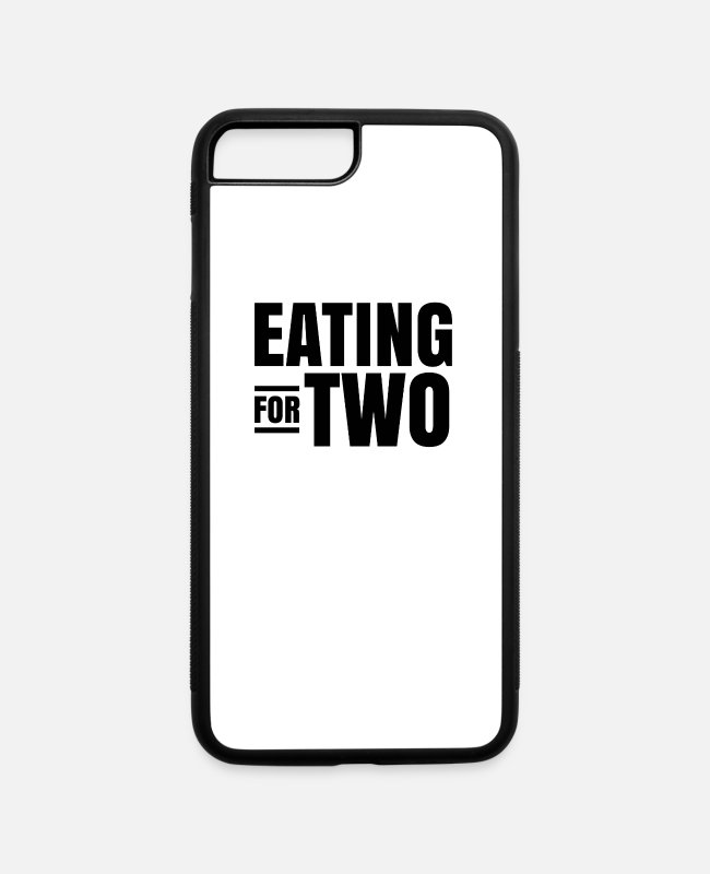Pregnancy iPhone Cases - Eating for two Pregnancy Twin Cravings Triplet - iPhone 7 & 8 Plus Case white/black