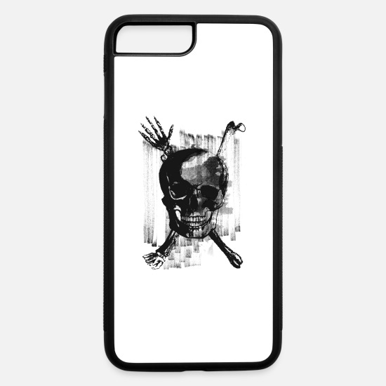 Halloween iPhone Cases - Skull with Cross Bones and Hand Wicked - iPhone 7 & 8 Plus Case white/black