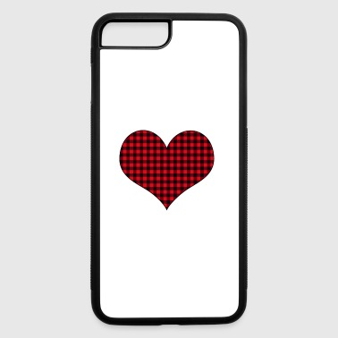 Plaid Buffalo plaid heart shirt - iPhone 7 Plus/8 Plus Rubber Case