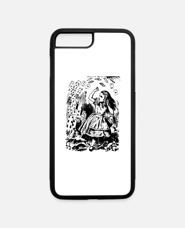 Print iPhone Cases - alice illustration printed art alice in wonderland - iPhone 7 & 8 Plus Case white/black