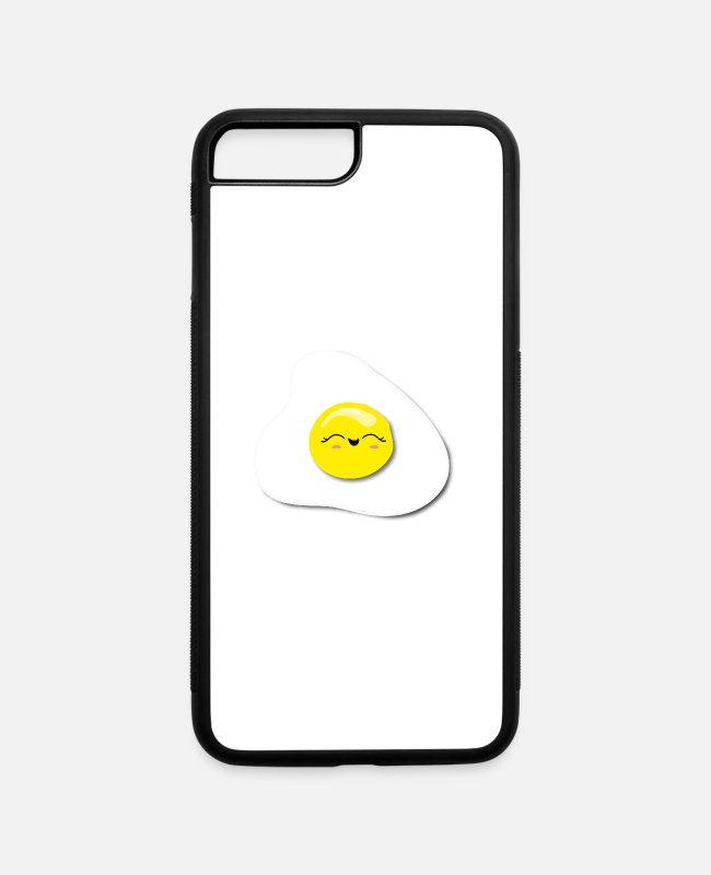 Fan Art iPhone Cases - Egg Kawaii smile fried egg sunny site up - iPhone 7 & 8 Plus Case white/black
