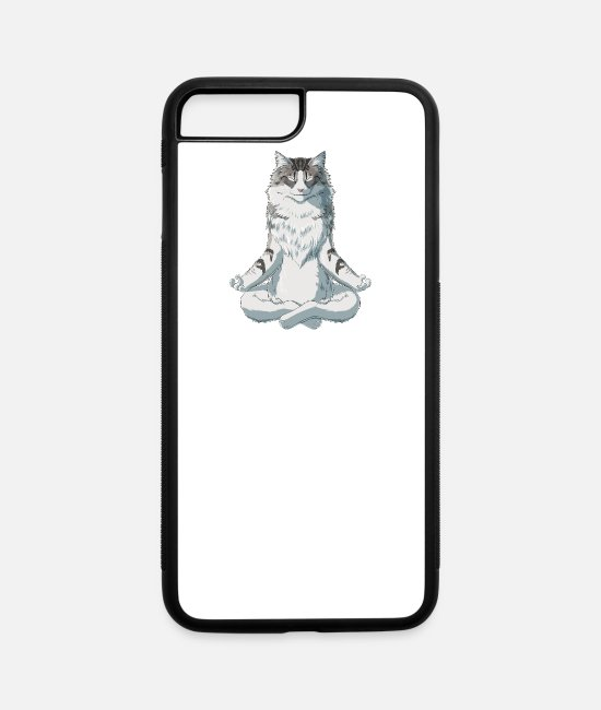 Norwegian Forest Cat iPhone Cases - Norwegian Forest Cat meditate - iPhone 7 & 8 Plus Case white/black