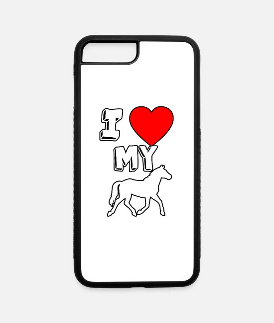 Riding Academy iPhone Cases - I love my Horse - Horse Lover T-Shirt - iPhone 7 & 8 Plus Case white/black