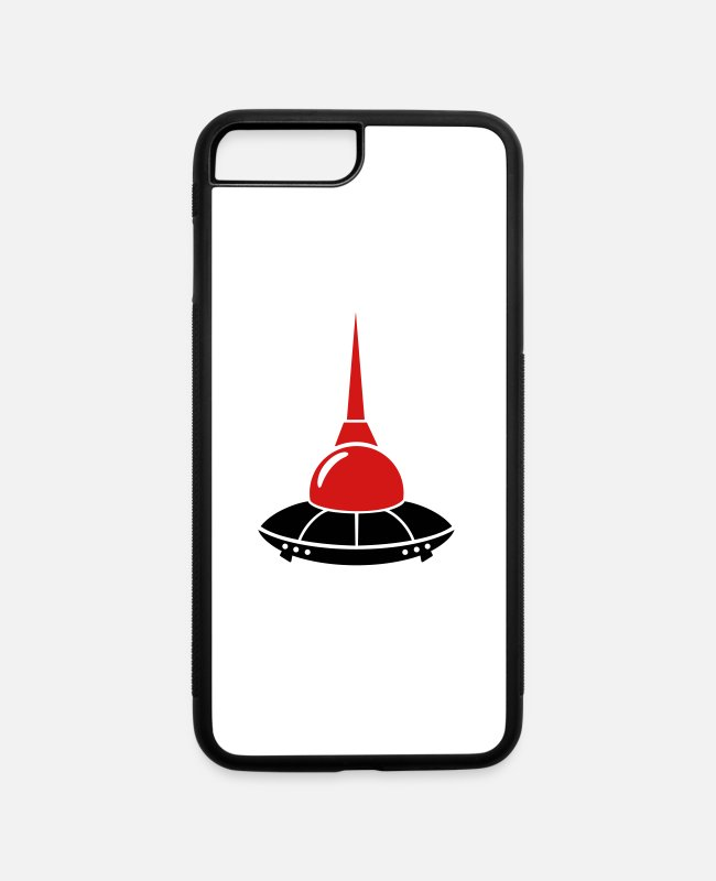 Space iPhone Cases - berlin ufo television tower germany - iPhone 7 & 8 Plus Case white/black