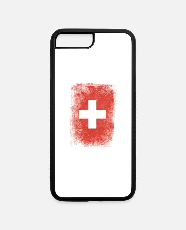 Alps iPhone Cases - Switzerland Flag Proud Swiss Vintage Distressed - iPhone 7 & 8 Plus Case white/black