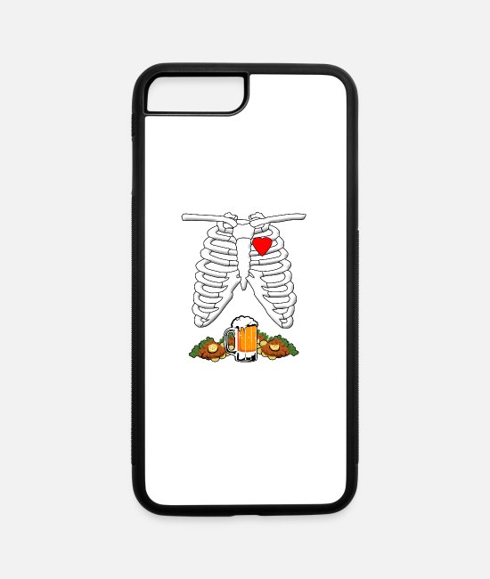 Festival iPhone Cases - Skeleton X-Ray Beer & Schnitzel Pregnant Halloween - iPhone 7 & 8 Plus Case white/black