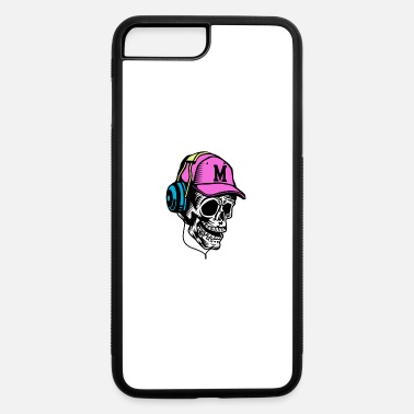 Disc Jockey Headphones Skull with Cap and Headphones Neon Design Giftidea - iPhone 7 & 8 Plus Case