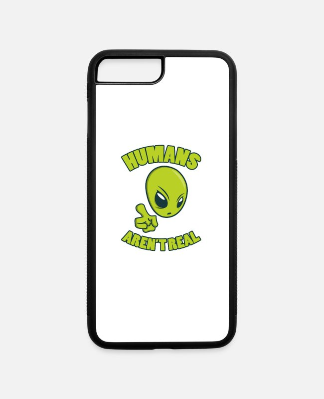 Space iPhone Cases - People are not UFO Extraterrestrial Alien Gift - iPhone 7 & 8 Plus Case white/black