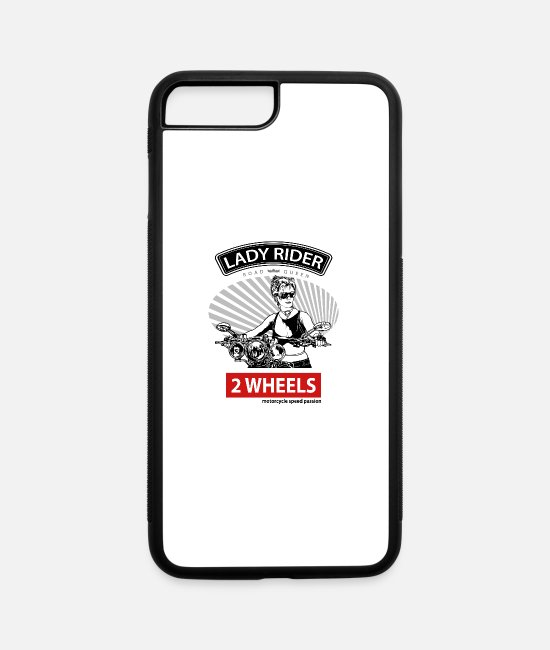 Outlaw iPhone Cases - Lady Rider Road Queen, T-shirt for Biker - iPhone 7 & 8 Plus Case white/black