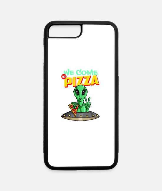 Space iPhone Cases - We Come In Pizza - iPhone 7 & 8 Plus Case white/black