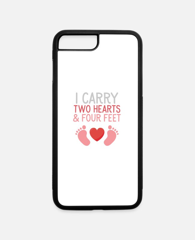 Pregnant iPhone Cases - I carry two hearts and four feet pregnant women - iPhone 7 & 8 Plus Case white/black