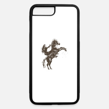 Feet Up Girl with horse rearing up on two feet sketch gift - iPhone 7 & 8 Plus Case