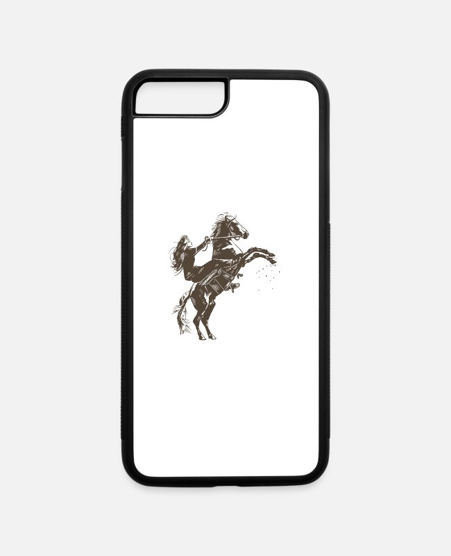 Breed iPhone Cases - Girl with horse rearing up on two feet sketch gift - iPhone 7 & 8 Plus Case white/black