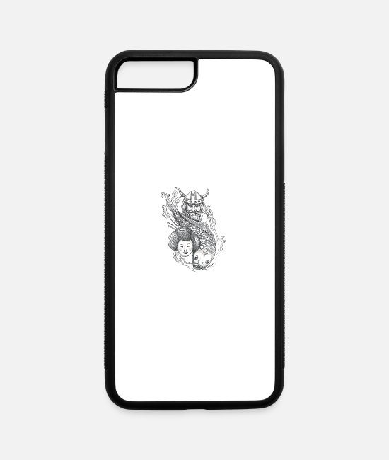 Drawing iPhone Cases - Viking Carp Geisha Head Tattoo - iPhone 7 & 8 Plus Case white/black