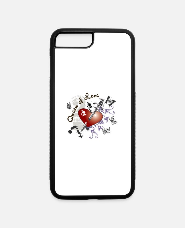 Heart iPhone Cases - Wueen of LOVE - iPhone 7 & 8 Plus Case white/black