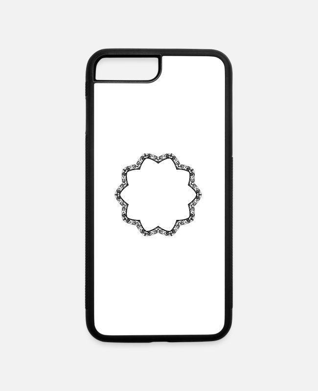 Line iPhone Cases - Leafy frame 6 - iPhone 7 & 8 Plus Case white/black
