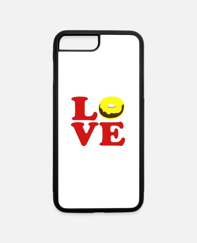 Vector Most Loved Fast Food Design Cakes Breads iPhone Cases - ♥ټLove Vanilla-Choco Doughnut-Heavenly Donutټ♥ - iPhone 7 & 8 Plus Case white/black
