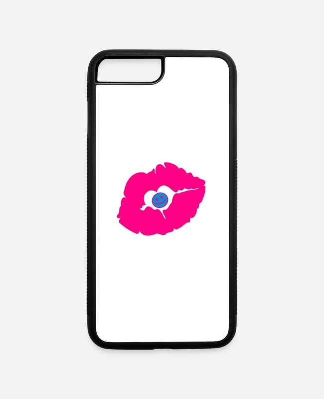 Xoxo Kiss I Love You Sweetheart Lovely Sexy Lips iPhone Cases - ♥ټXxSexy Smiley Pink Luscious Sensual Lips xXټ♥ - iPhone 7 & 8 Plus Case white/black