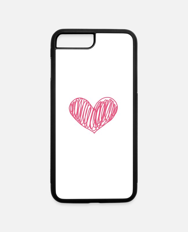Design iPhone Cases - Scribble Heart Phone Case - iPhone 7 & 8 Plus Case white/black