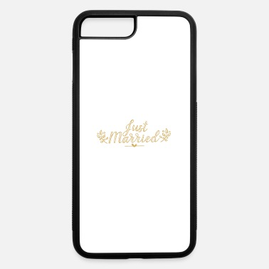 Groom Text Just Married Gold text bride and groom family gift - iPhone 7 & 8 Plus Case