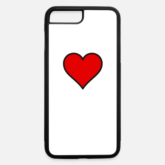 Heart iPhone Cases - RED HEART - iPhone 7 & 8 Plus Case white/black