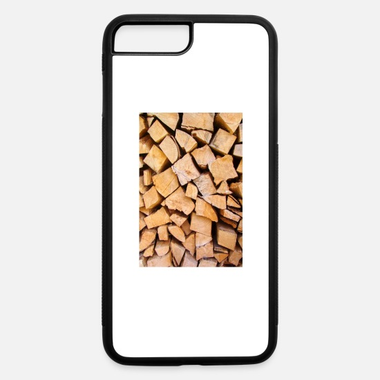 Wood iPhone Cases - closeup of a wood stack - iPhone 7 & 8 Plus Case white/black