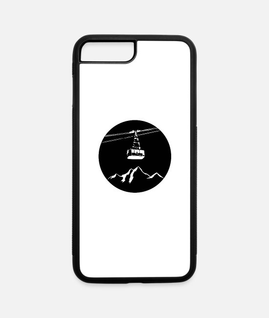 Mountains iPhone Cases - Mountain with gondola white - iPhone 7 & 8 Plus Case white/black