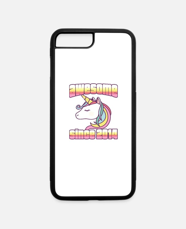 Drawing iPhone Cases - Unicorn Awesome Since, 2014, Funny, rainbow - iPhone 7 & 8 Plus Case white/black