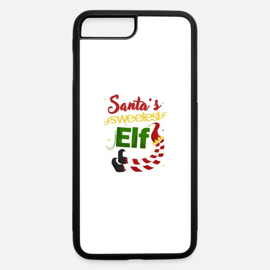 Occasion iPhone Cases - Sweetest Elf hat santa Christmas Tree Holiday gift - iPhone 7 & 8 Plus Case white/black