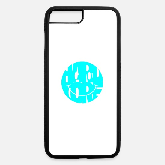Happy Hardcore iPhone Cases - hardcore smiley turquoise - iPhone 7 & 8 Plus Case white/black
