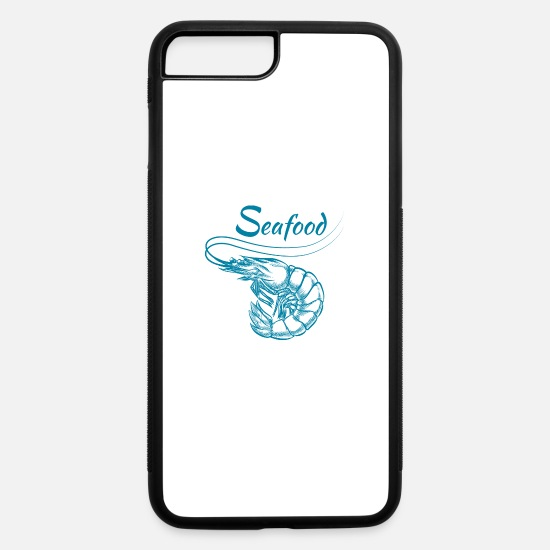 Shrimp iPhone Cases - shrimp shape vector Fresh Seafood inscription - iPhone 7 & 8 Plus Case white/black