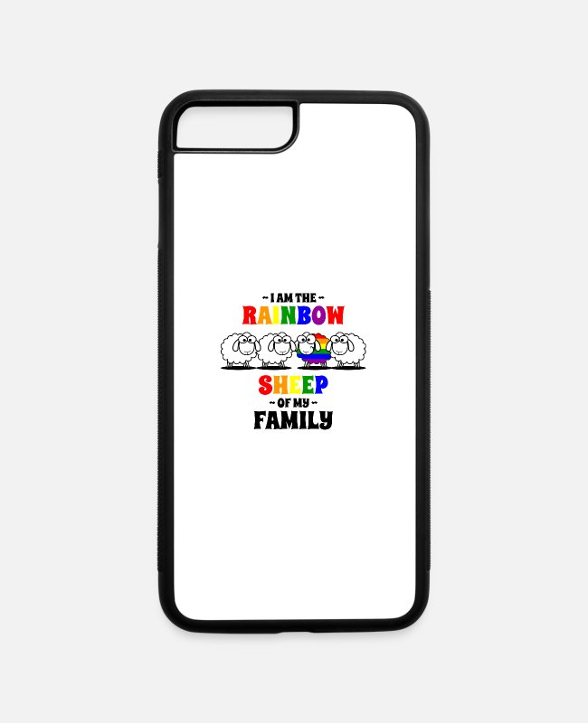 Gay Pride iPhone Cases - LGBT colorful sheep gift for homosexual friends - iPhone 7 & 8 Plus Case white/black