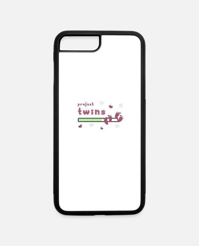Pregnancy iPhone Cases - project twins pregnancy announcement child gift - iPhone 7 & 8 Plus Case white/black