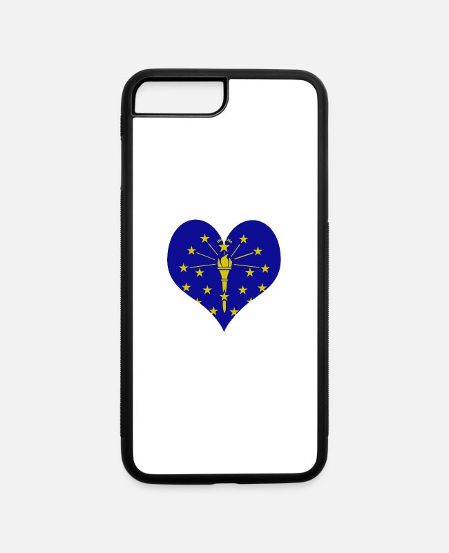 Homeland iPhone Cases - Heart Indiana Love country America USA gift idea - iPhone 7 & 8 Plus Case white/black