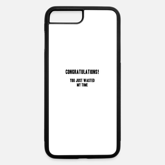 Waste iPhone Cases - cynical timewaste shirt gift idea - iPhone 7 & 8 Plus Case white/black
