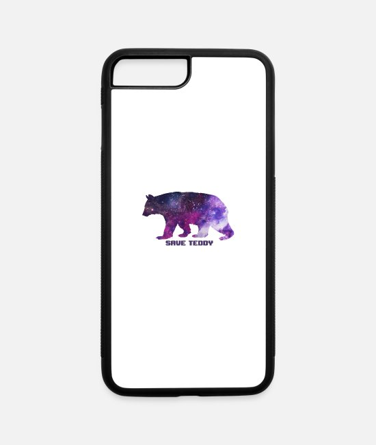 Space iPhone Cases - Bear Polar Brown Salmon Galaxy Space Gift Fish - iPhone 7 & 8 Plus Case white/black