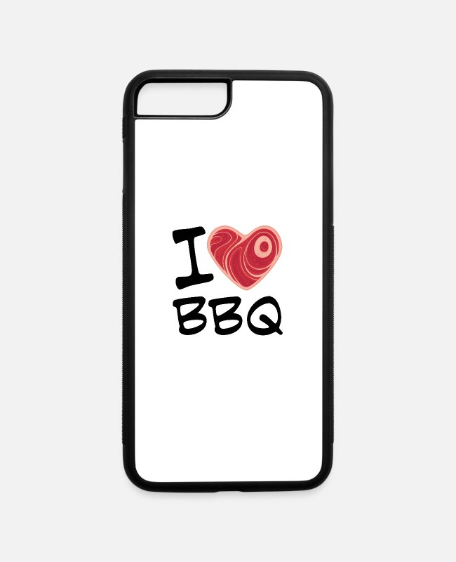 Red iPhone Cases - I Love BBQ with Black Text - iPhone 7 & 8 Plus Case white/black