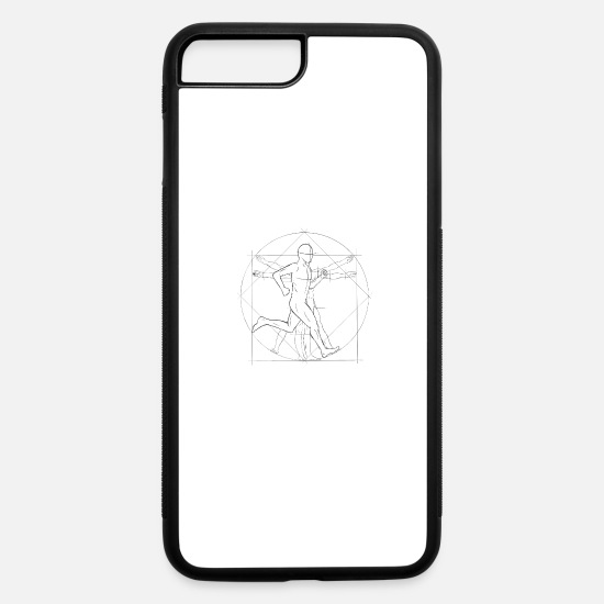 Sketch iPhone Cases - Vitruvian Man Marathon Runner Jogger Anatomy Gift - iPhone 7 & 8 Plus Case white/black