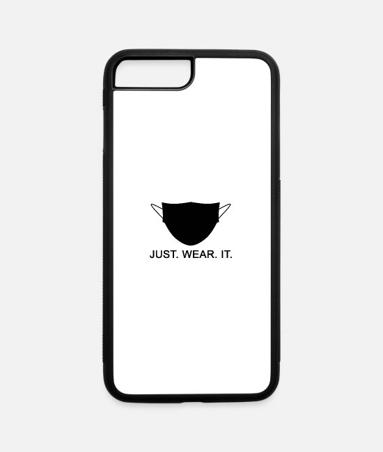 Virus iPhone Cases - JUST WEAR IT - Wear A Mask Slogan - iPhone 7 & 8 Plus Case white/black