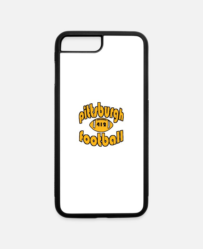 Geraud iPhone Cases - Pittsburgh Football 412 Retro Vintage Steel City - iPhone 7 & 8 Plus Case white/black