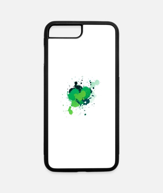 Artist iPhone Cases - Green Paint Splatter - iPhone 7 & 8 Plus Case white/black