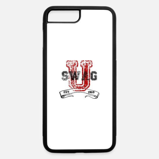 Red iPhone Cases - Swag University - Unisex Graphic Design College - iPhone 7 & 8 Plus Case white/black