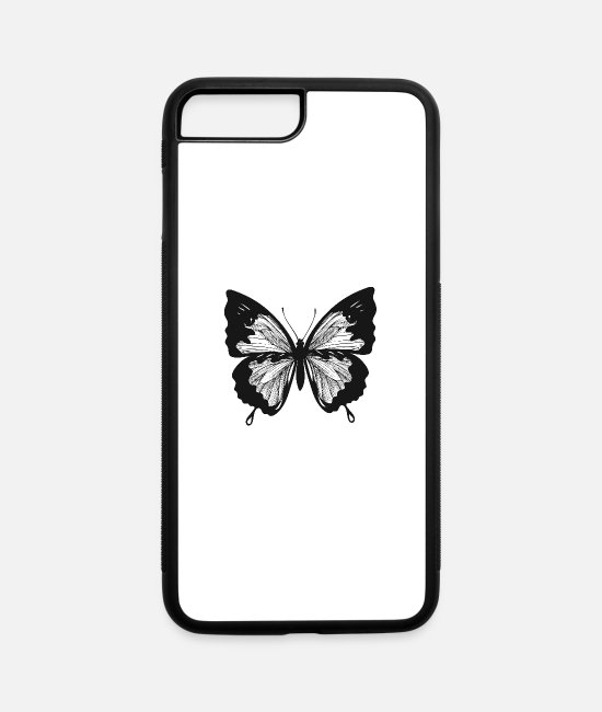 Art iPhone Cases - Butterfly insect vector shape tatoo drawing image - iPhone 7 & 8 Plus Case white/black